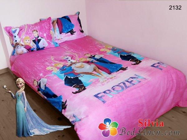 Детски спален комплект ранфорс Замръзналото кралство - розов